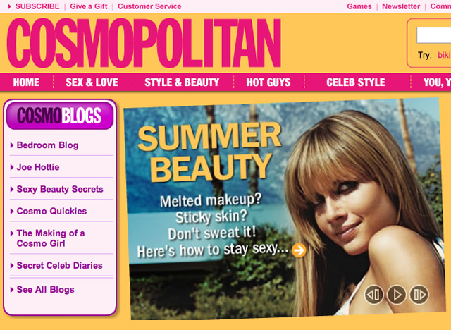 Cosmopoiltan blog module and homepage promo