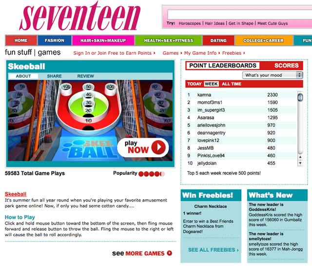 Seventeen Games interface