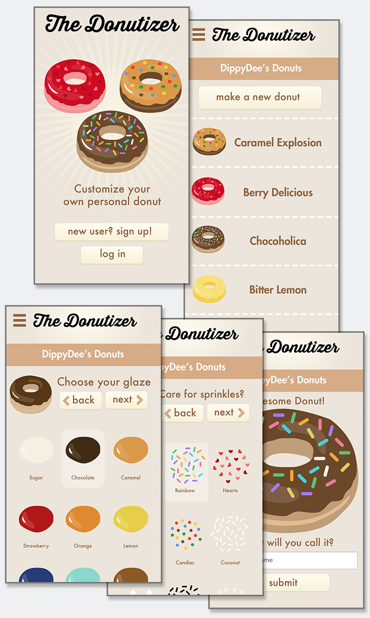 The Donutizer app design